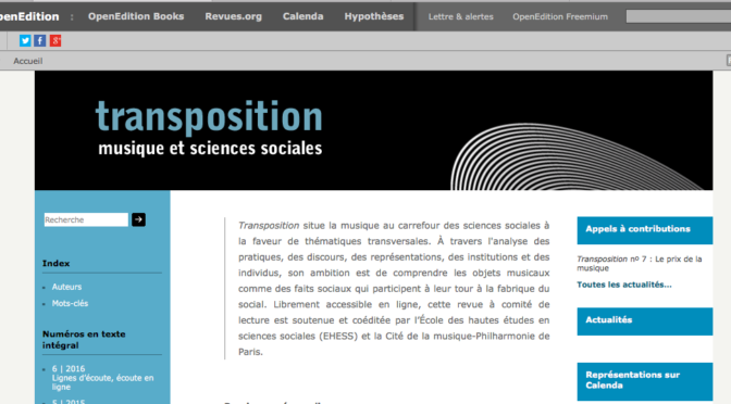 Revue : Transposition Musique et Sciences sociales
